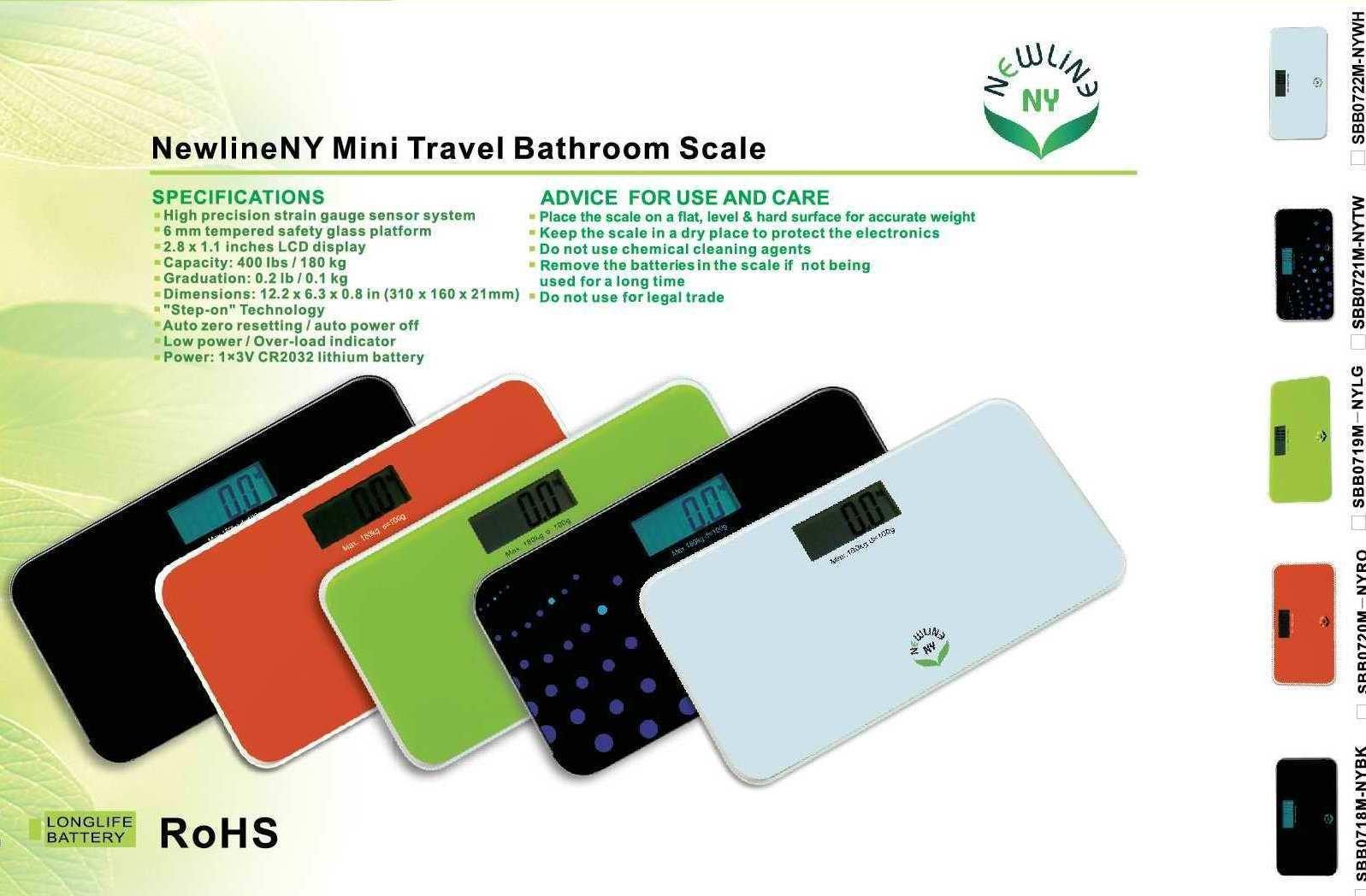 NewlineNY SBB0718M-NYBK Step-On Mini Travel Bathroom Scale, Cool Black