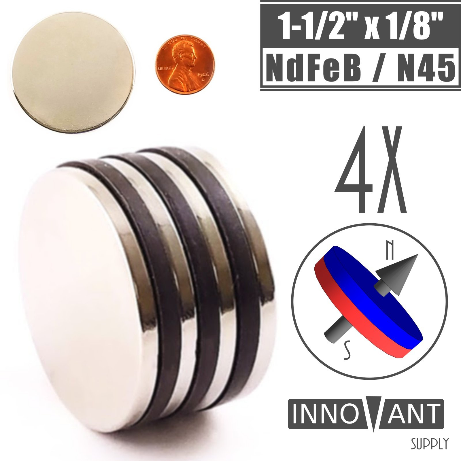 INNOVANT 4 Pack Neodymium Disc Magnets 1 1/2'' d x 1/8'' h N45 Grade Strong Permanent Rare Earth Magnets - Best for DIY Arts & Crafts Projects, School Classroom Science Project & Office or Work Supply by Innovant Supply (Image #1)