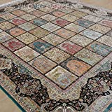Yilong 8 x10  Large Persian Silk Rug Traditional Tabriz Classic Four Season Floral Design Hand Knotted Home Carpet...