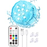 Idealife Rechargeable Submersible LED Lights with Remote RF, Built-in Battery Color Changing Bathtub Light Waterproof Underwa