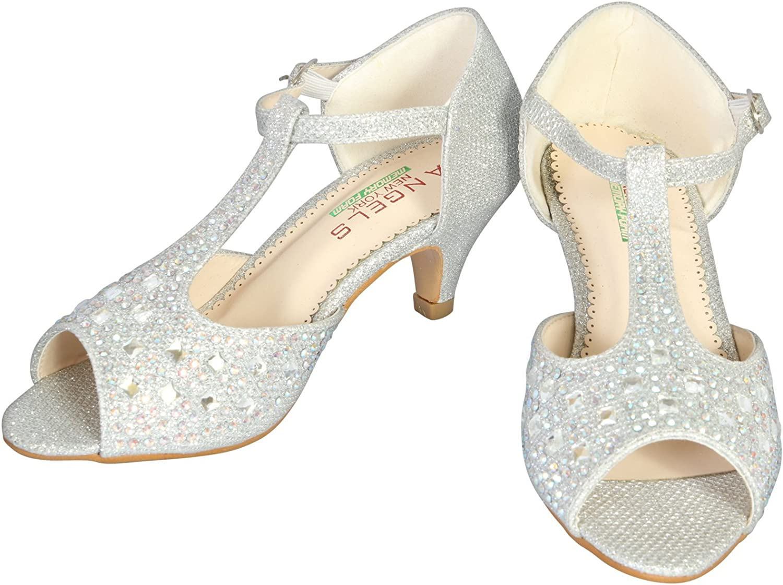 Angels New York Girls Glitter /& Stone Sandal with Memory Foam Insole