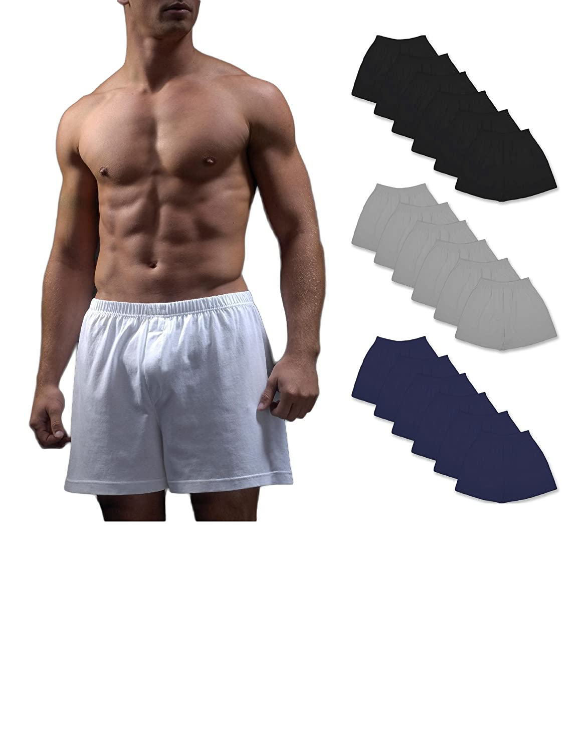HILITE CLASSIC Classic Men's 12 Pack Classics Full Cut Cotton Boxer Shorts 313HL
