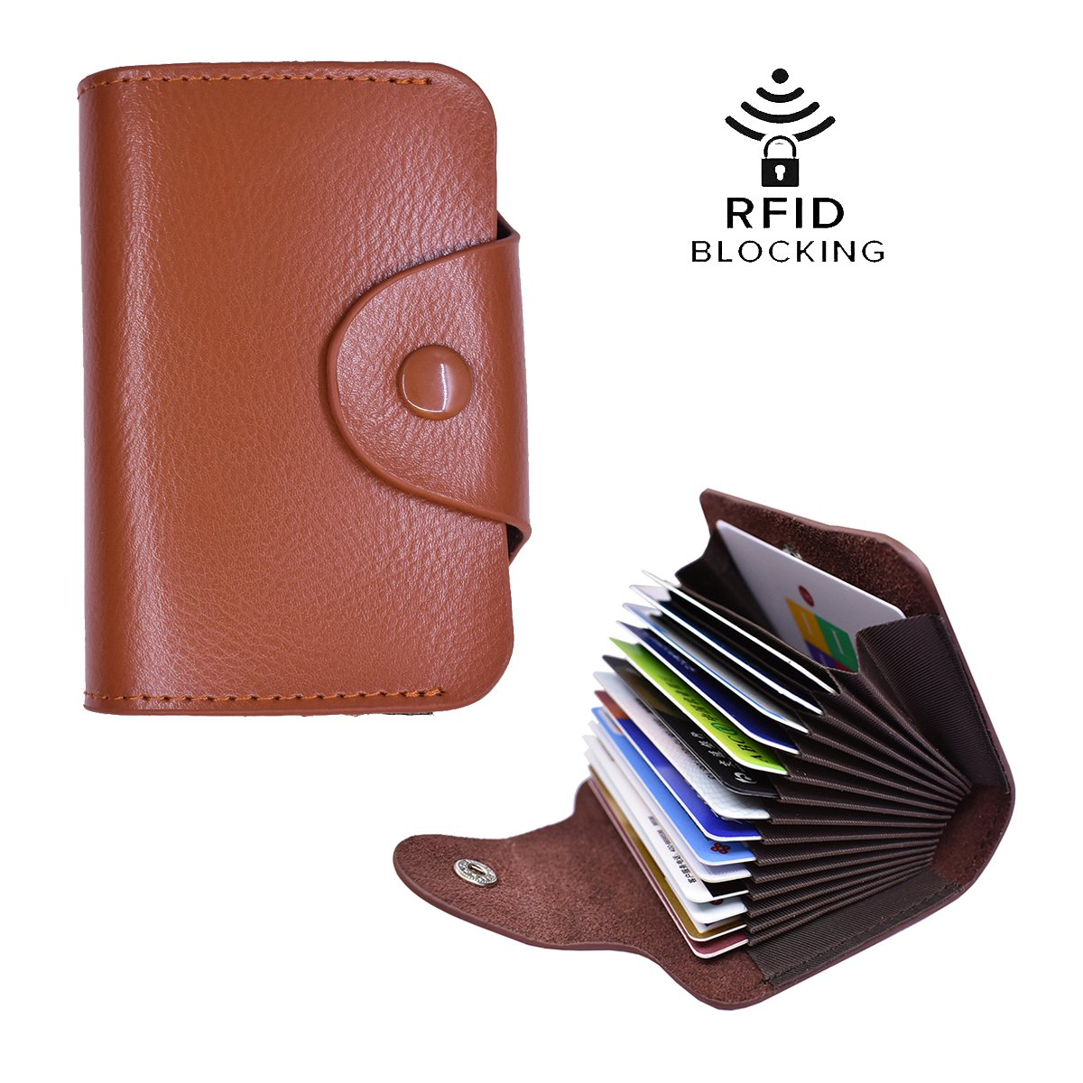 Unisex Genuine Slim Thin Wallet Leather RFID Security Blocking Credit Card Holder Business Name Card Wallet Case for Women and Men (Brown)