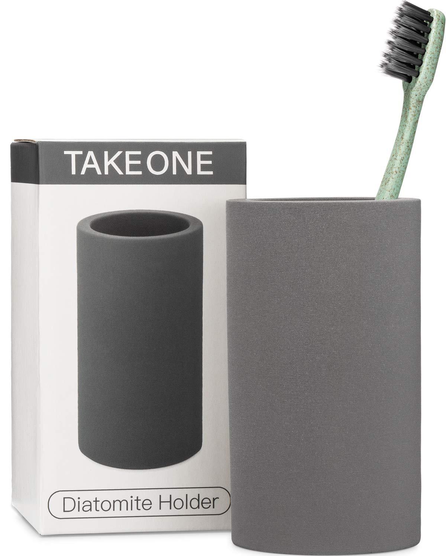 TAKEONE. Bathroom Toothbrush Holder Modern Gray Stand - Handmade Natural Organic Shower Sanitary Storage Cup - Grey Ceramic Diatomite Counter Vanity Accessories Organizer. by TakeOne.