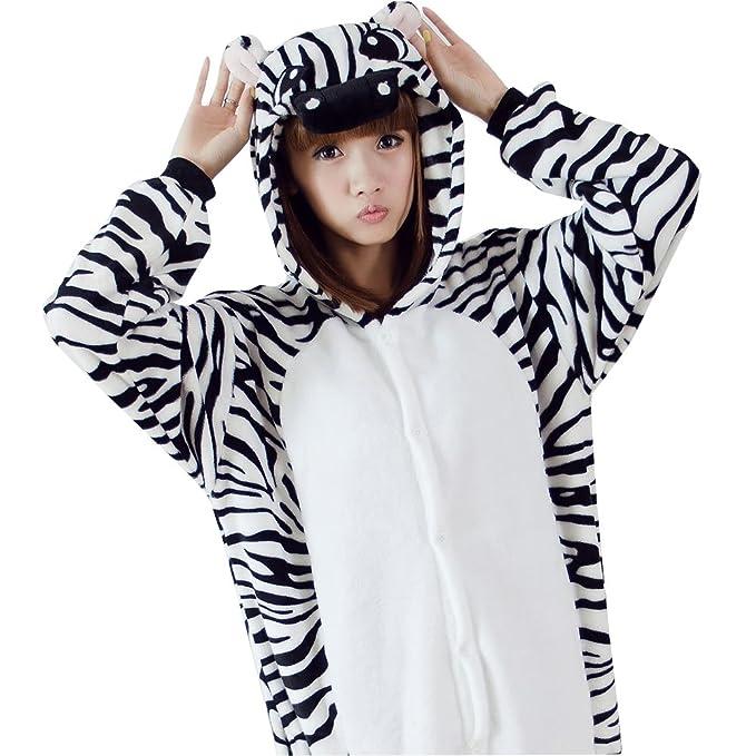 FuweiEncore Pijama Animal de Cebra,Flanela,Cosplay de Vestuario, Disfraces,Ropa de