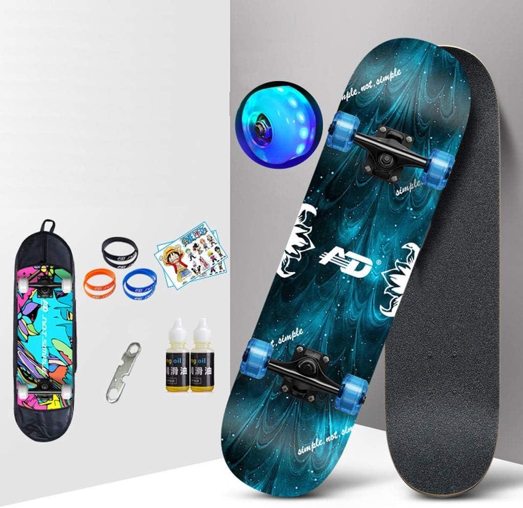 スケートボード 四輪ロードスケートボード大人のプロスケートボードライトホイール女の子女の子男性メープル初心者ショートボード (Color : G) G