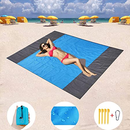 WORNEW Sand Free Beach mat, Quick Drying Ripstop Nylon Compact Outdoor Beach Blanket Best Sand Proof Picnic Mat for Travel, Camping, Hiking and Music Festivals 82 79