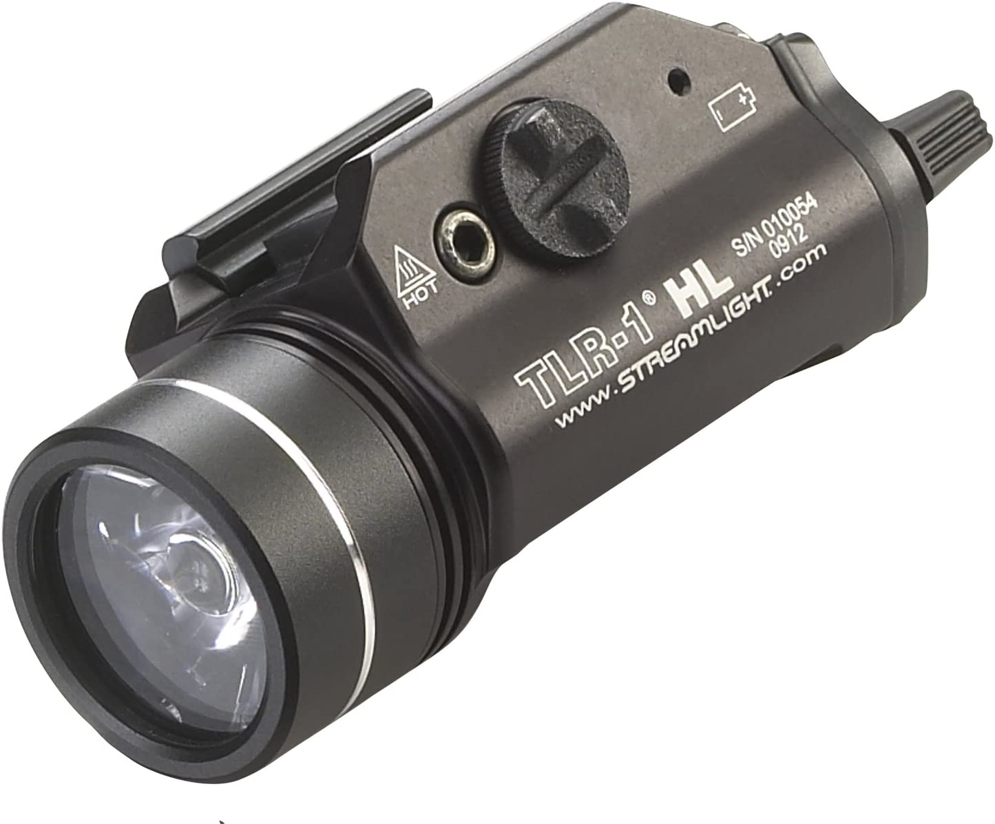 This is an image of a shotgun light in black matte color. Lens facing forward.