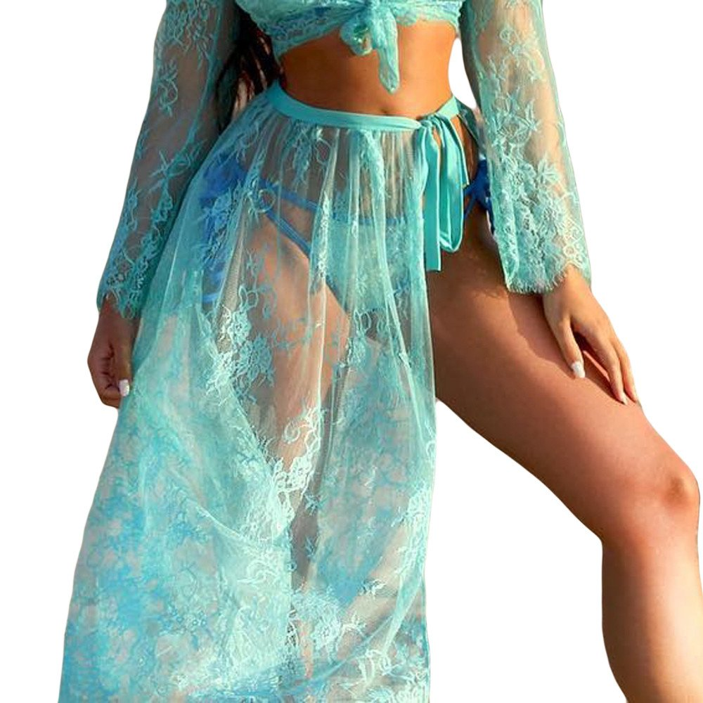 Fashion Women Sexy Lace Print Babydoll Perspective Skirt Sunscreen Skirt Lingerie Three Piece Blue
