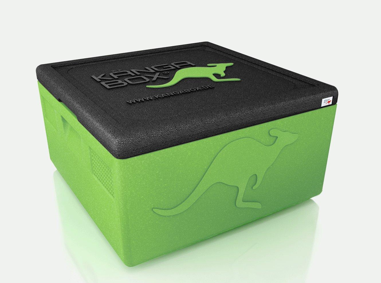 KÄNGABOX Easy S, EY1265LE lime, innen Ø 35 cm, außen 410x410x330 mm, Inhalt 32 l. Thermobox für Pizza, Kuchen und Torten. Stabile, leichte, stapelbare Kühlbox. Für Catering, Konditorei und Lieferservice. Farbe helles gr&uu