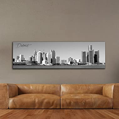 Black & White Panoramic Cities 14 X48  Canvas Detroit City 14 x 48  Wall Decoration Photography Image Printed on Canvas Stretched & Framed Ready to Hang