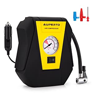 Analogue Tyre Inflator, AUPERTO DC 12V Air Compressor Pump -100 PSI for Compact / Midsize Sedan SUV