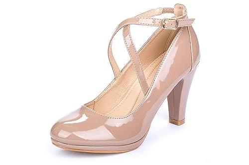 La BeigeAmazon Push Zapatos Cala esY Tacón Mujer KTFcl1J