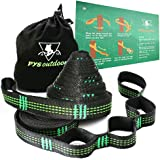 XL Hammock Straps Set PYS Outdoor Combined 20Ft Long, 32 or 40 Loops,2000LBS Breaking Strength,100% No Stretch Polyester,Tree Friendly,Quick&Easy Setup Best Suspension System