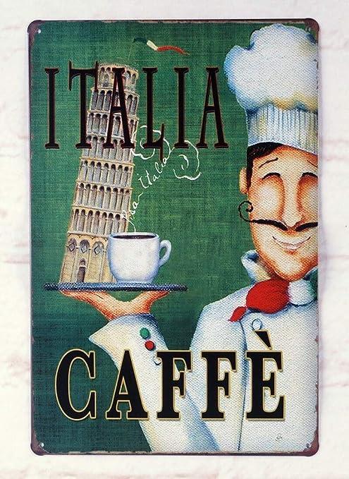 Shunry Italia Caffe Placa Cartel Vintage Estaño Signo Metal ...