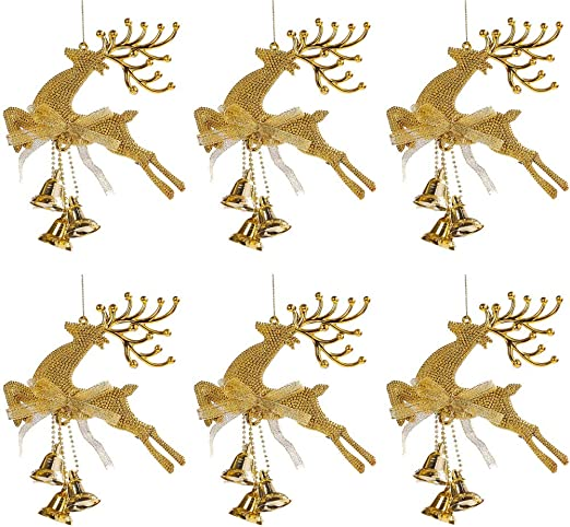 Christmas Tree Deer Chital Bell Hanging Ornament Xmas Baubles Party Decoration
