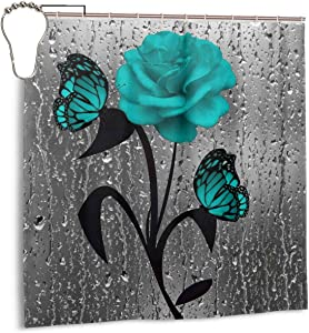 """Amonee-YL Teal Gray Rose Flower Butterflies Bath Polyester Fabric Shower Curtain Sets with 12 Hooks,Modern Bathroom Home Decor, Water Repellent 60"""" 72"""""""
