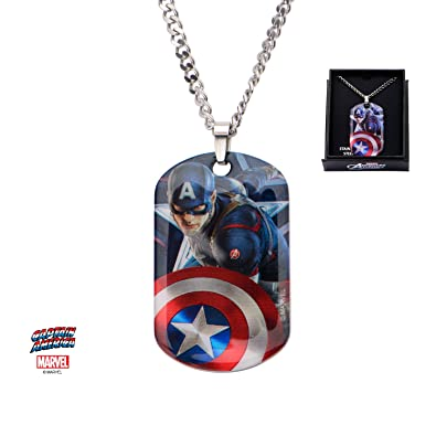 Marvel Comics Captain America Anhänger Dog Tag Halskette Kette