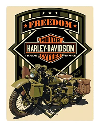 7a6aa2d9 Amazon.com: Harley-Davidson Freedom Green Military Embossed Tin Sign, 13 x  17 inches 2011351: Harley-Davidson: Home & Kitchen