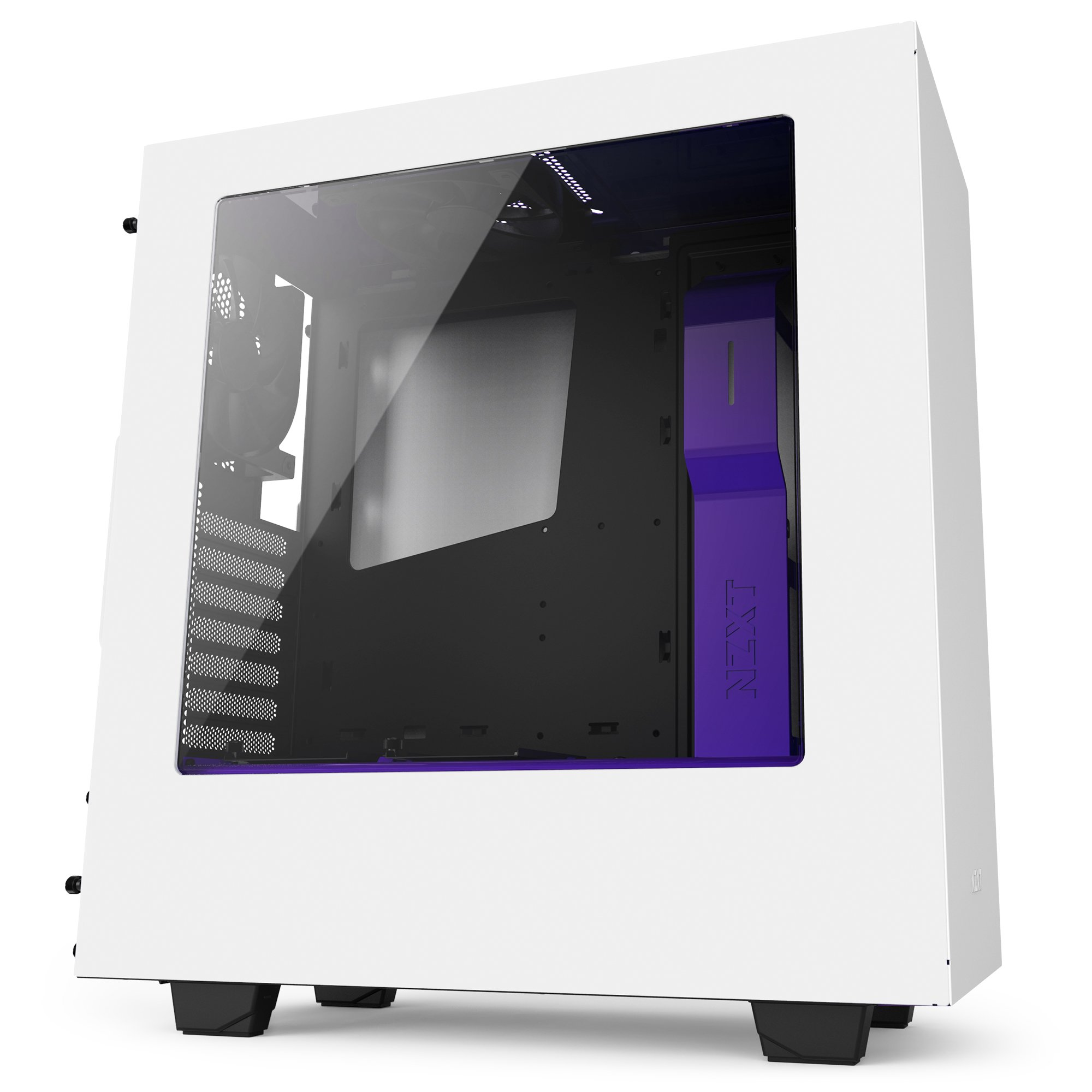 NZXT S340 Compact ATX Mid-Tower Case with All-Steel Panels - Matte White + Purple