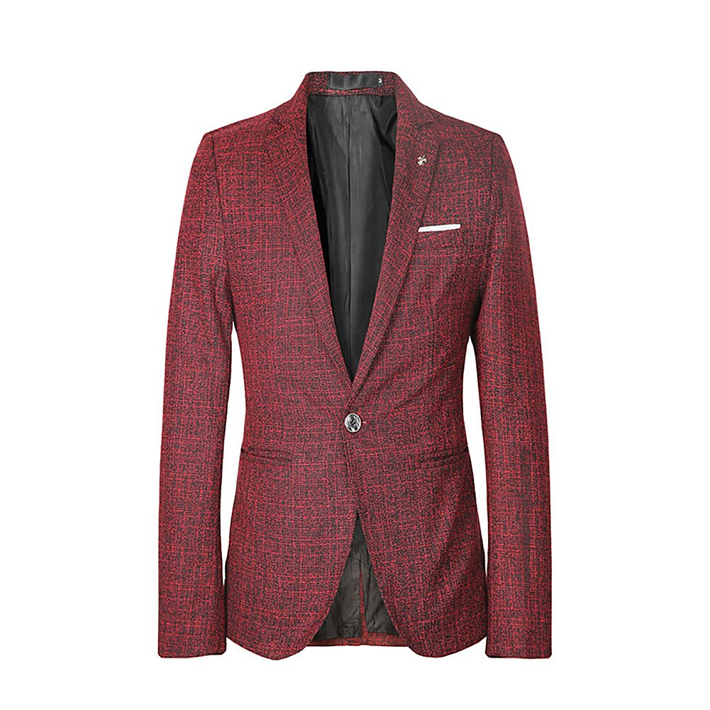 Men's Blazer Jacket Slim Fit One Button Sport Coat Notch Lapel Casual Business Solid Single Breasted Outwear VVD123