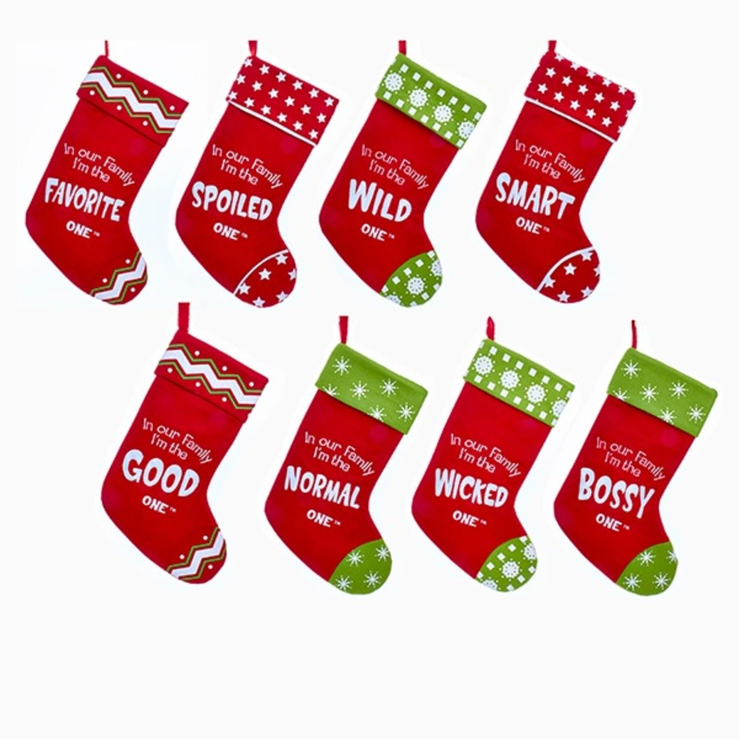 Pack of 16 Red and Green ''In Our Family...'' Characteristics Christmas Stockings 21''