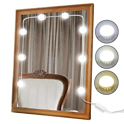 Xbuty Vanity Mirror Lights Kit Hollywood Style 8 Dimmable Led Light Bulbs Warm White To Daylight Tunable Linkable Lighting For Makeup Vanity Table
