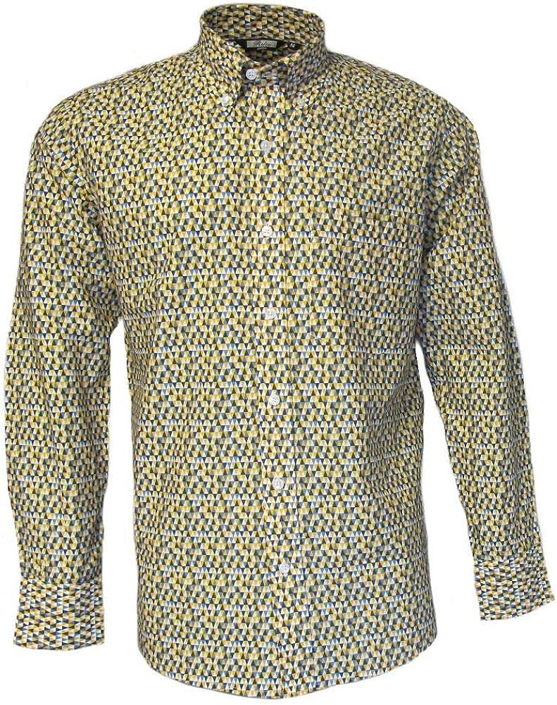 Run /& Fly Mens 70s Retro Mod Geometric Psychedelic Printed Shirt