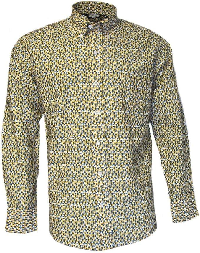 Relco Hombre Amarillo Abstracto Geométrico Manga Larga con Botones Camisa Vintage Mod Años 60 Años 70: Amazon.es: Ropa y accesorios