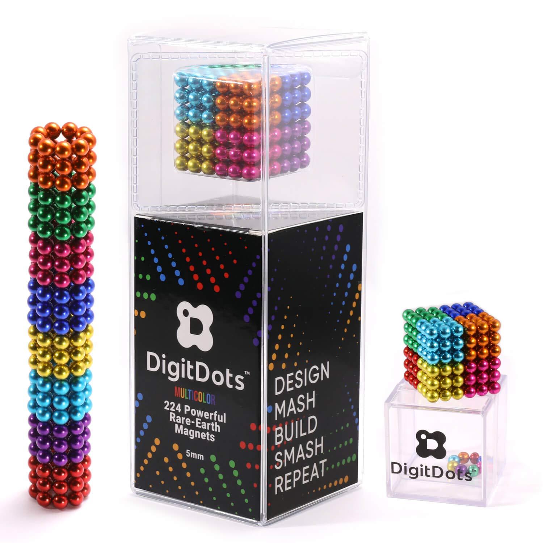 Multi Colored DigitDots 224 pieces 5 Millimeter Magnetic Balls The Original Updated for 2019 Adult Fidget Toys Rare Earth Magnets Desk Toys Desk Games Magnet Toys Magnetic Balls Stress Relief Toys by BrainSpark