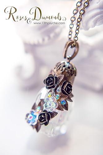 Collar de cristal de la botella de perfume. Collar de flores, collar miniatura del