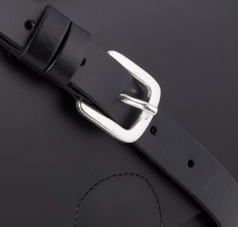 PIECES Damen Pchilal Leather Cross Body Umhängetasche, 3x16,5x20,5 cm Schwarz (Black)