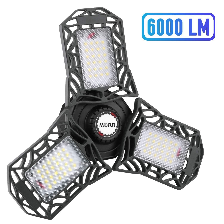 LED Garage Lights, 60W LED Garage Ceiling Lights 6000LM Garage Lighting, Deformable LED Shop Lights for Garage, Warehouse, Corridor, Stadium ect, Support E26 Screw Socket (No Motion Detection)