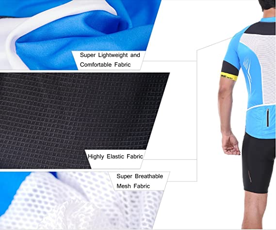 f47b695c2 Amazon.com   INBIKE Men s Summer Short Sleeve Cycling Jersey and 3D Padded  Shorts Set