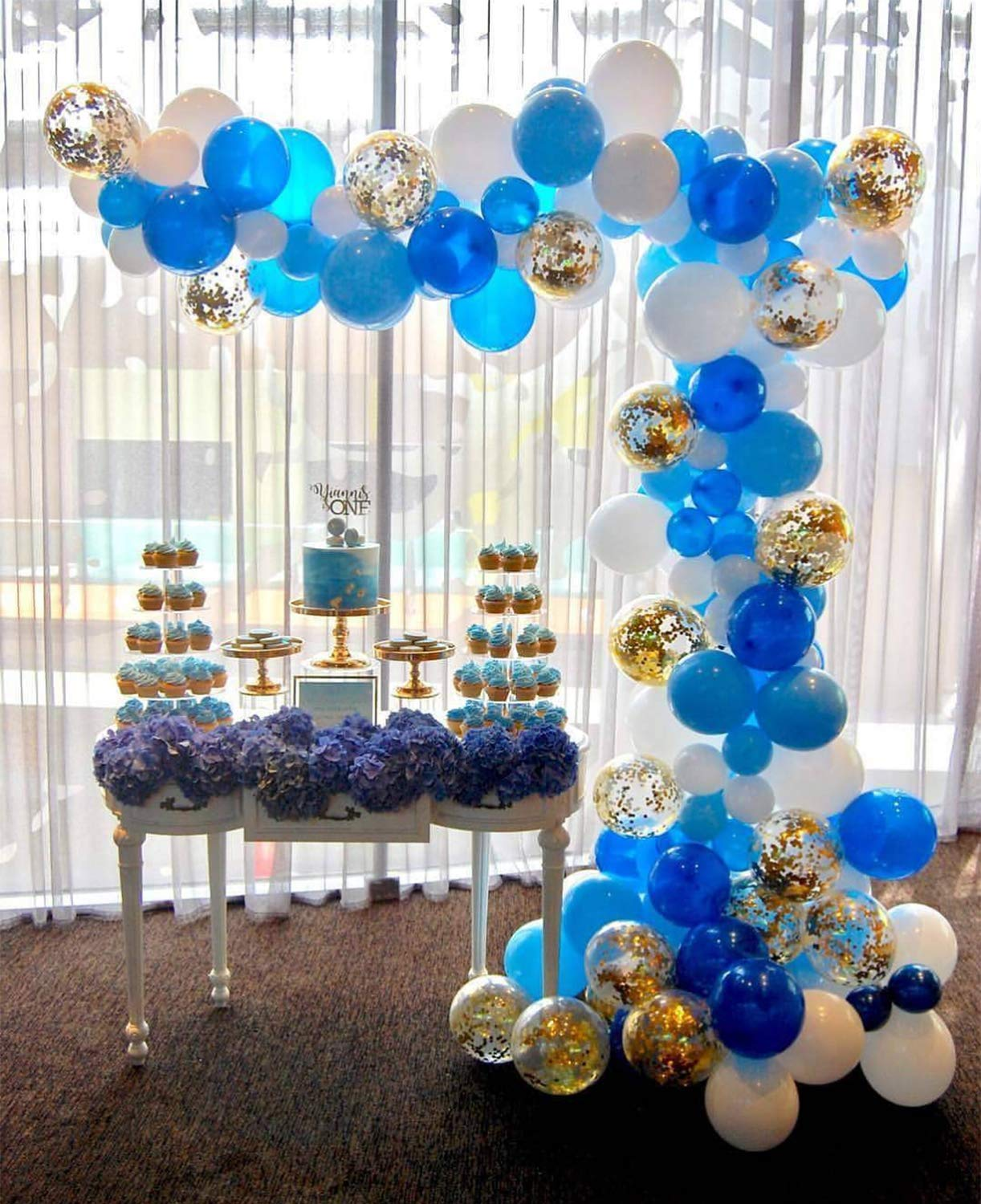 Putwo Blue Gold And White Balloons 70 Pcs 12 Inch Navy Light