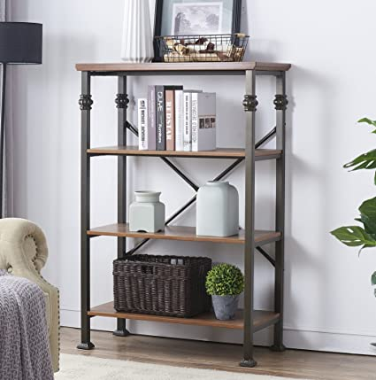OK Furniture 4 Shelf Industrial Open Bookcase Wood And Metal Vintage Etagere Bookshelf