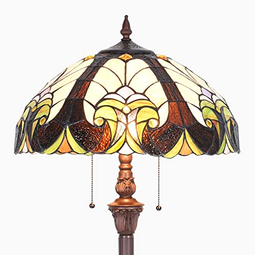 Cotoss Tiffany Floor Lamp, Pole Lamp, 18 Inch Wide Vintage Floor Lamp, Victorian Stained Glass Floor Lamps, Tiffany Lighting Lamp, Leaded Glass Floor Lamp for Living Room