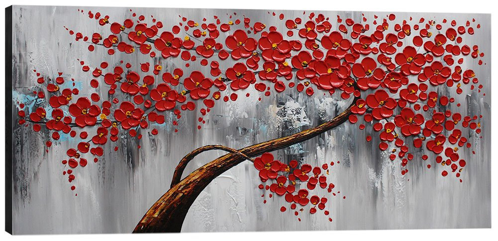 Mofutinpo Flower Canvas Wall Art Painting Large Red Plum Blossom Tree Picture for Living Room Abstract Decoration Modern Hand Painted Floral Artwork Bedroom Bathroom Home Office 24x48in