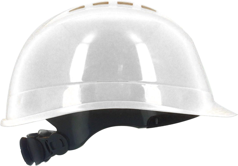 Silent SL1470 Casco de seguridad industrial, sombrero duro de construcción, ventilado, arnés de 6 puntos, certificado EN 397 y A1, blanco