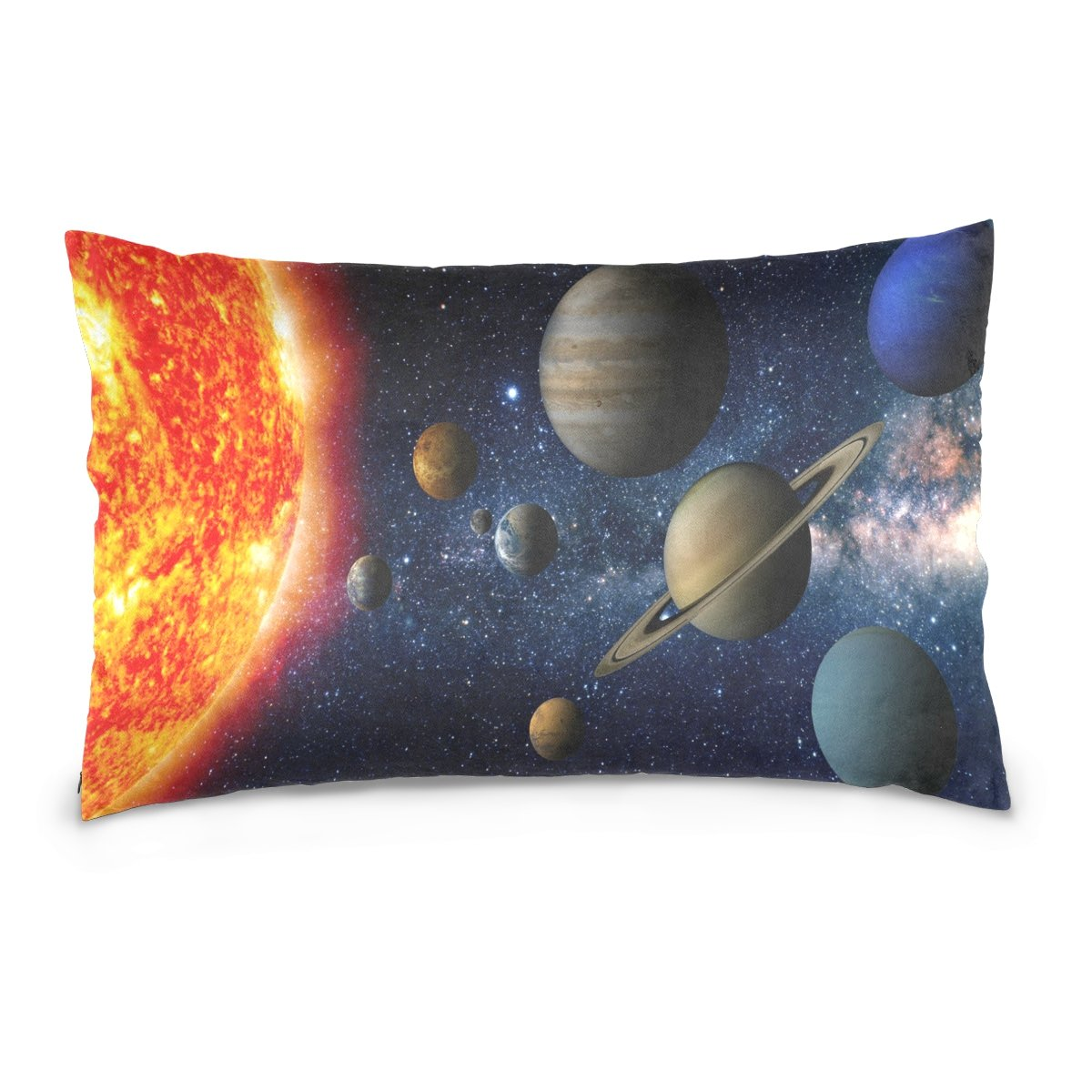 ALAZA Solar System Space Universe Cotton Lint Pillow Case,Double-sided Printing Home Decor Pillowcase Size 16''x24'',for Bedroom Women Girl Boy