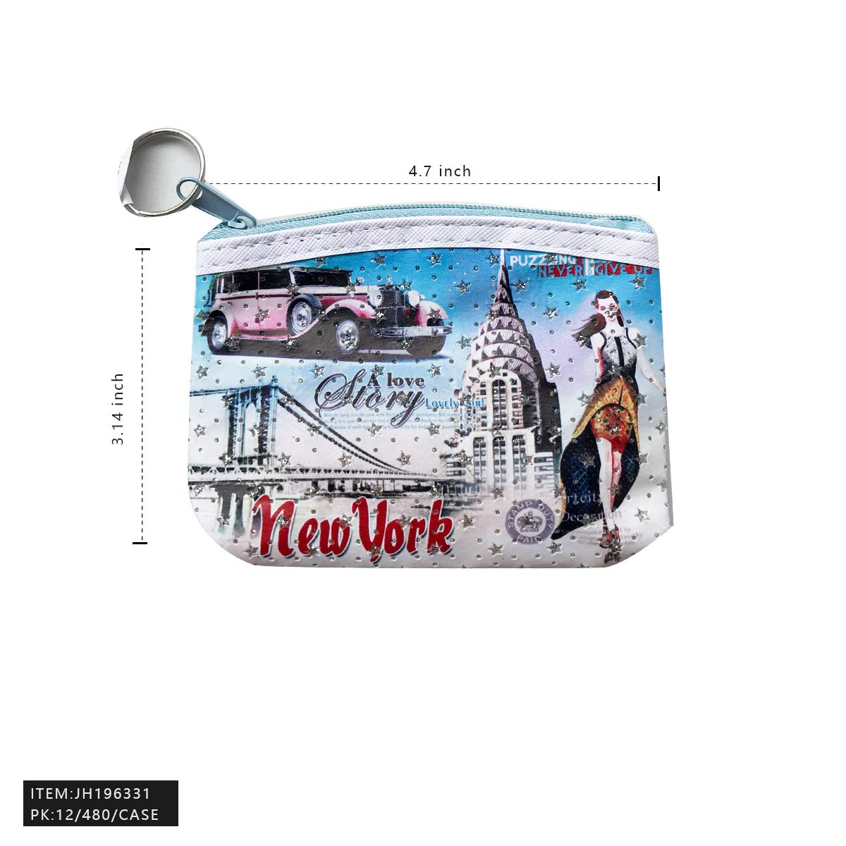Pack of 12pcs Women Girls New Yrok Pattern Mix Color Wallet Zip Coin Purse Bags
