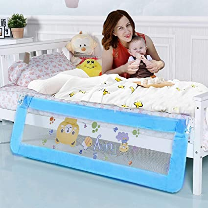 Double Full Size Queen /& King Mattress/¡/ 59 inch Bed Rails for Toddlers QinTian 2 Sets Blue Swing Down Toddler Bed Rail Guard Fold Down Safety Side Rails for Twin Bed