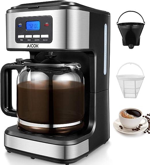 Aicok - Cafetera de filtro para cafetera de 12 tazas, cafetera programable, 1,8 litros, sistema antigoteo, filtro reutilizable permanente, acero inoxidable, negro y plateado: Amazon.es: Hogar