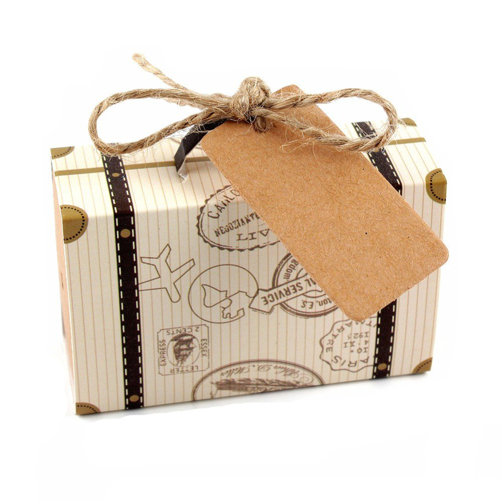 Yalulu 50pcs Mini Suitcase Kraft Paper Candy Box Rustic Wedding Favors Candy Holder Bags Wedding Party Gift Boxes with Blank Tags Burlap Twine