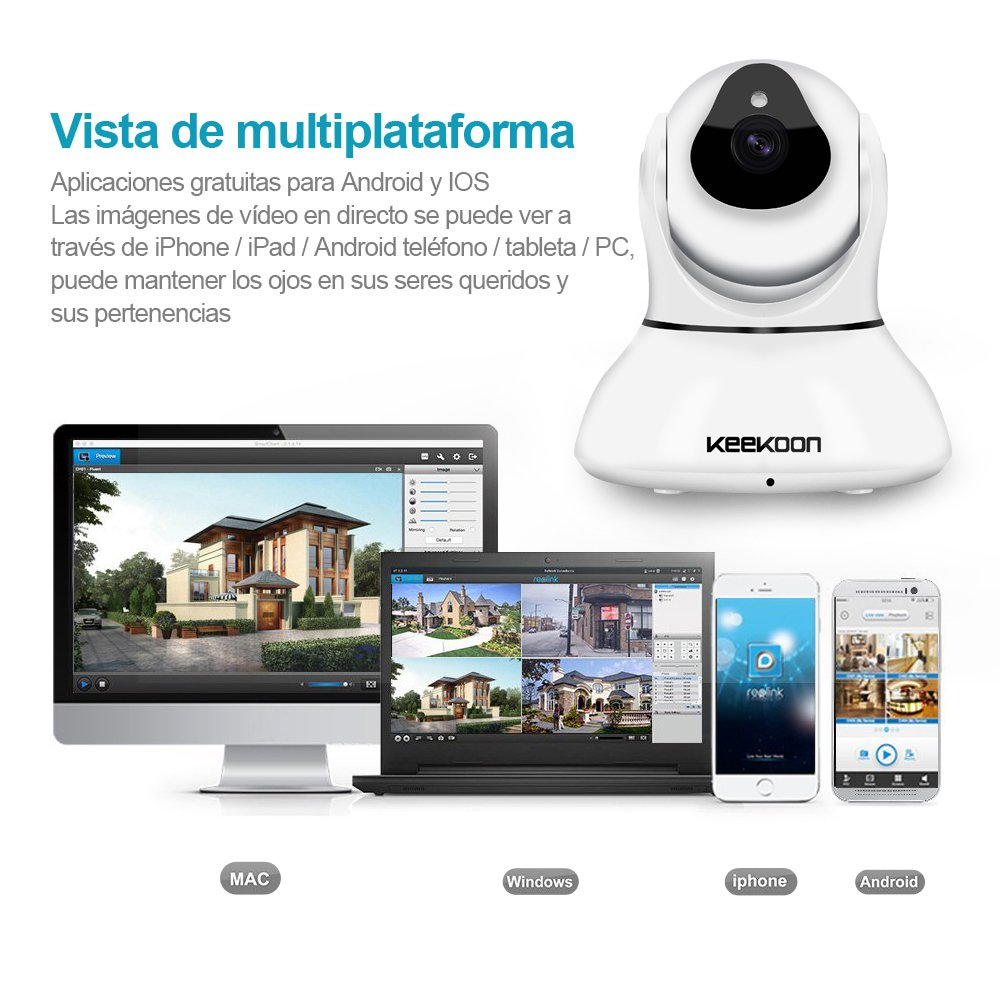 Keekoon IP Cámara de Vigilancia [Smart Conexión Wifi / Visión Nocturna / Solución 720P H.264] Inalámbrica Rotación 345 Grados Detección de movimiento ...