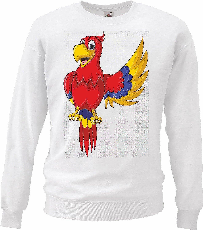 Sudaderas Suéter Colores Loro Alegre con un extendidas Aves DE ala cacatúas Loro Especies Talking Parrot en Blanco: Amazon.es: Ropa y accesorios