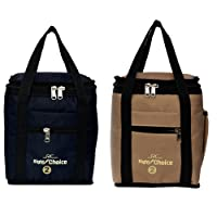 Right Choice Combo Offer Lunch Bags Premium Quality Carry on Tote Compact Heat Preservation Waterproof Hygiene Meal Prep Box Bag Black + Beige Color (Box.2008)