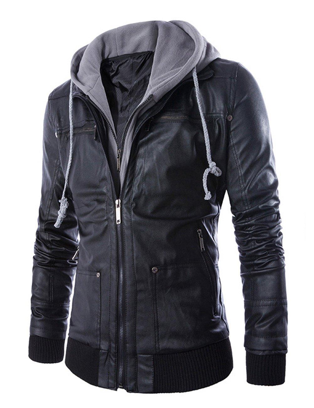 LanLan Slim Fake 2pcs Faux Leather Outerwear Jackets for Men Black L
