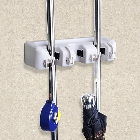 vanelife multifunción fregona escoba soporte, 3 Posición Con 4 Ganchos Gancho hasta 7 herramientas, soluciones de almacenamiento para baño cocina ...