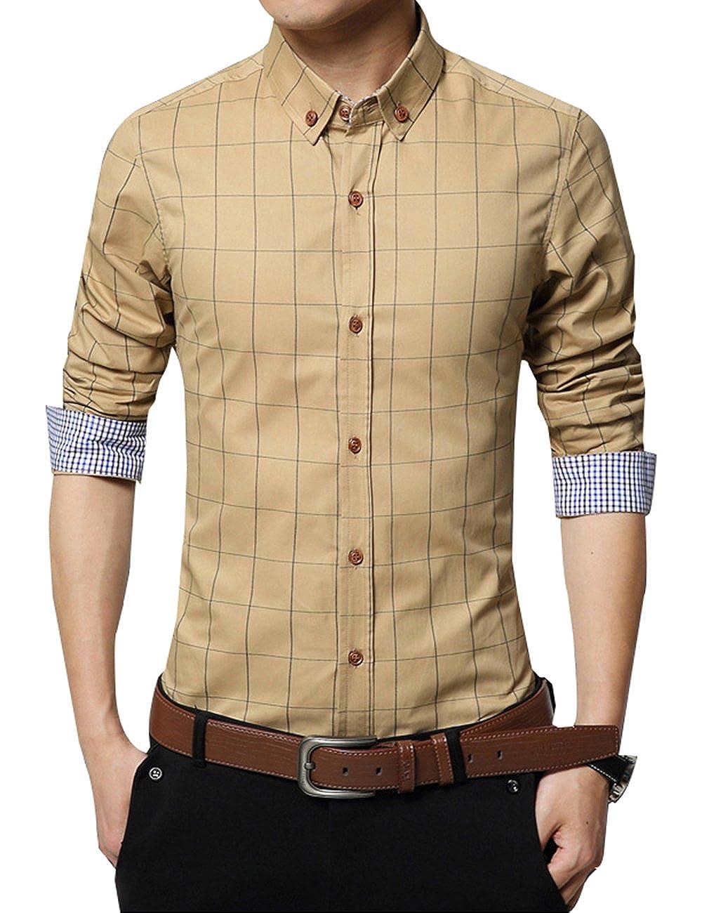 ERZTIAY Mens Formal Business Plaid Slim Fit Long Sleeve Dress Shirts